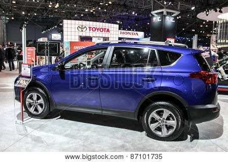 NEW YORK - APRIL 1: Toyota exhibit  Toyota Rav at the 2015 New York International Auto Show during Press day,  public show is running from April 3-12, 2015 in New York, NY.