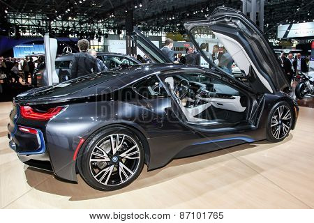 NEW YORK - APRIL 1: BMW exhibit 2015 BMW i8 at the 2015 New York International Auto Show during Press day,  public show is running from April 3-12, 2015 in New York, NY.