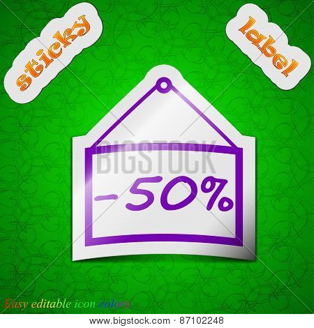 50 Discount Icon Sign. Symbol Chic Colored Sticky Label On Green Background. Vector