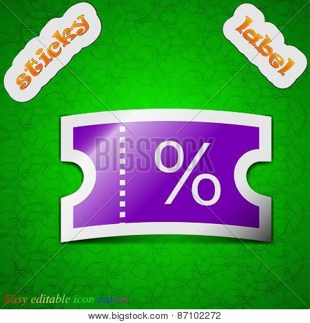 Ticket Discount Icon Sign. Symbol Chic Colored Sticky Label On Green Background. Vector