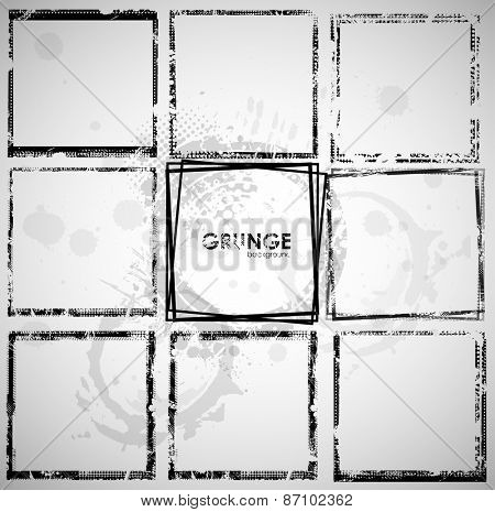Set of grunge frame background