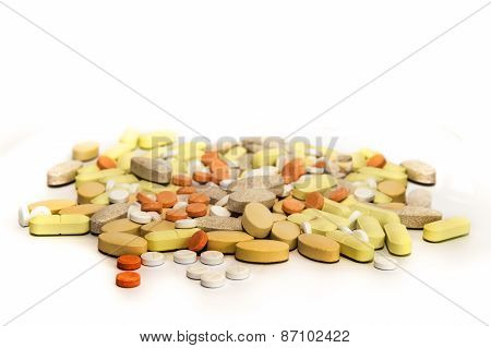 Pills and Supplements Isolated On White