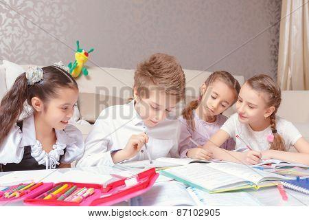 School kids study at home