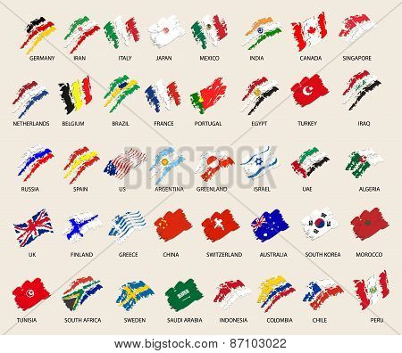 set of stylized images of 40 flags. vector illustration