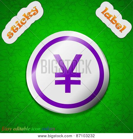Japanese Yuan Icon Sign. Symbol Chic Colored Sticky Label On Green Background. Vector