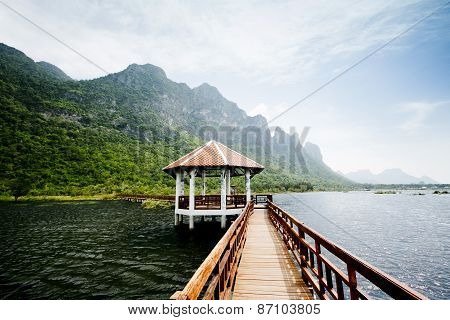 The Wooden Bridge In Lotus Lake And Wood Waterfront Pavilion, At Khao Sam Roi Yot National Park In T