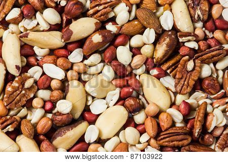 Natural background texture made from mixed kinds of nuts - pecans, hazelnuts, walnuts, cashews, almo