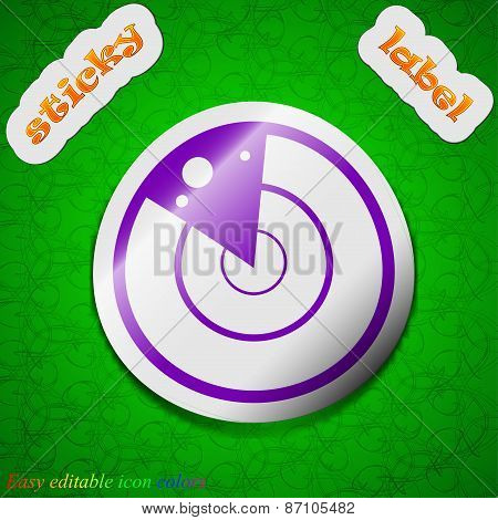 Radar Icon Sign. Symbol Chic Colored Sticky Label On Green Background. Vector