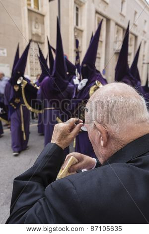 Elderly Man Cleaned Their Tears Excited After Watching Holy Week Procession, Spain