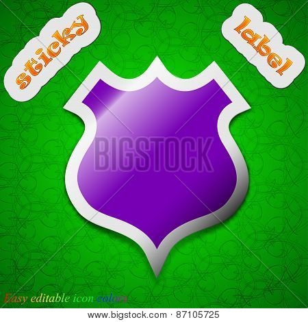 Shield Icon Sign. Symbol Chic Colored Sticky Label On Green Background. Vector