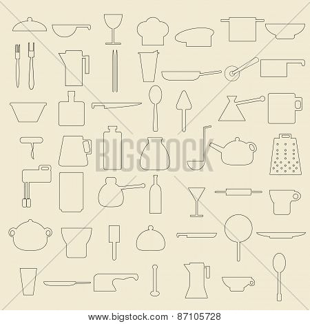 Food and beverage items line icon set.