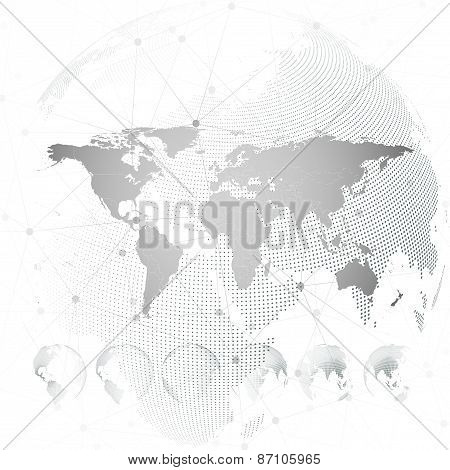 World map with dotted globes, light design vector illustration