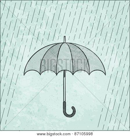 Illustration Of Umbrella In The Rain