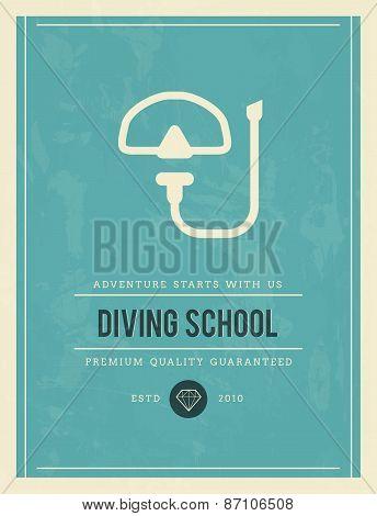 Vintage Poster For Diving School