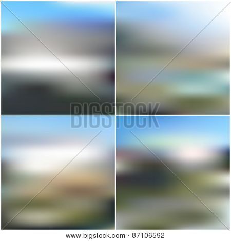 Vector web and mobile interface templates. Editable blurred backgrounds set