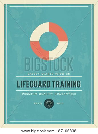Vintage Poster For Lifeguard Training