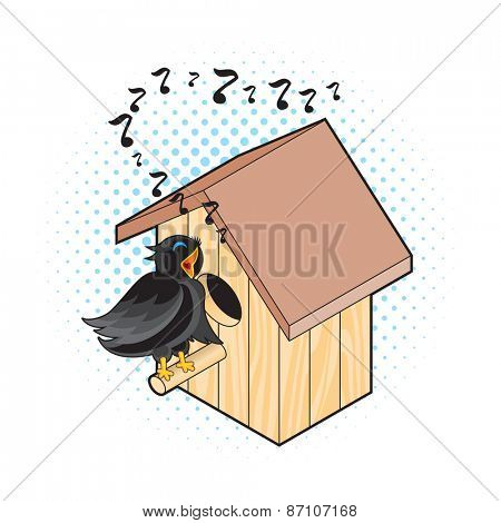 Starling and Nesting Box. Black Bird Sings near the Nest