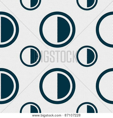 Contrast Icon Sign. Seamless Pattern With Geometric Texture. Vector