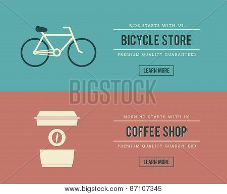 Bicycle Store And Coffee Shop Banners