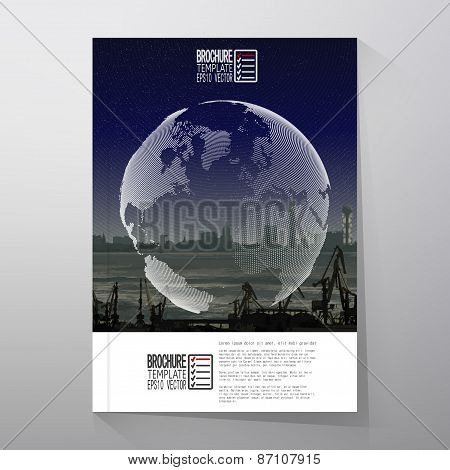 Shipyard and city landscape, night design, world globe vector. Brochure, flyer or report for busines