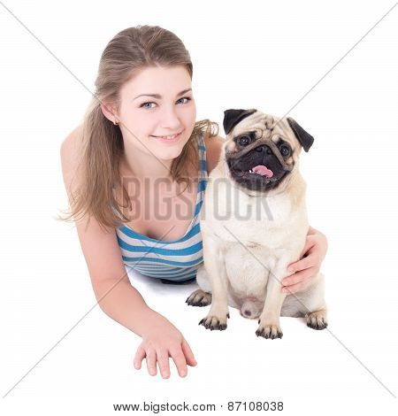 Young Beautiful Woman With Pug Dog Isolated On White