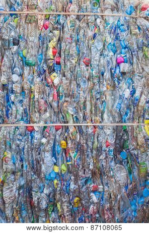 Phuket, Thailand - March 3 : Crushed Plastic Bottles At A Recycling Facility In Phuket On March 3, 2