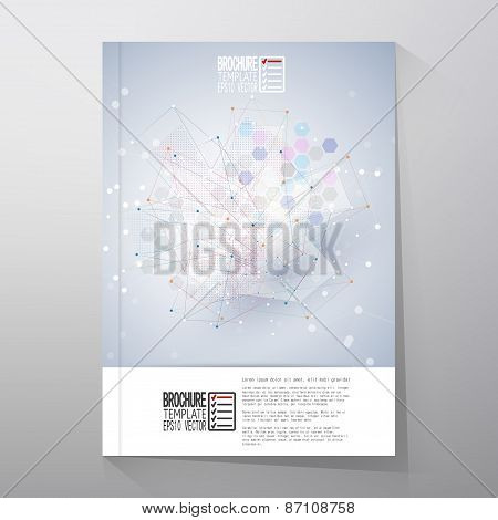 Brochure, flyer or report with molecular structure for communication, template vector
