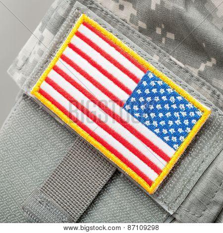 Us Flag Shoulder Patch On Solder's Uniform - Studio Shot