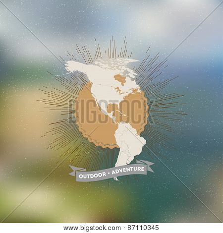 Outdoor adventure poster. North and South America map with vintage style star burst on blurred backg