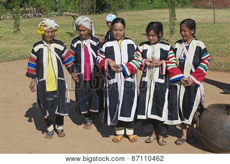 People of the Black Lahu hill tribe perform traditional dance in Mae Hong Son, Thailand.