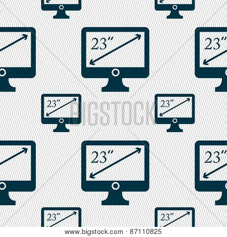 Diagonal Of The Monitor 23 Inches Icon Sign. Seamless Pattern With Geometric Texture. Vector