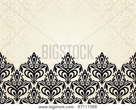 Pale Fashionable ecru and black invitation design