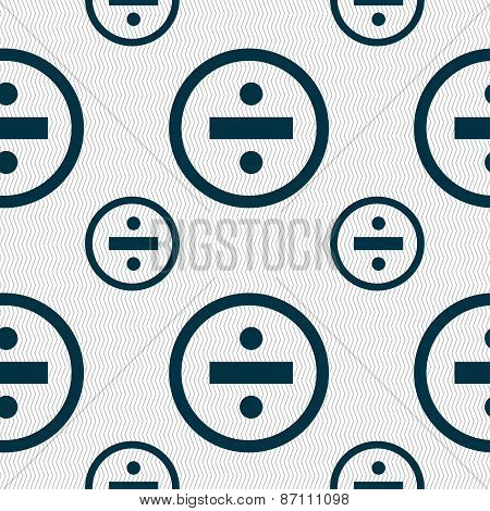Dividing Icon Sign. Seamless Pattern With Geometric Texture. Vector