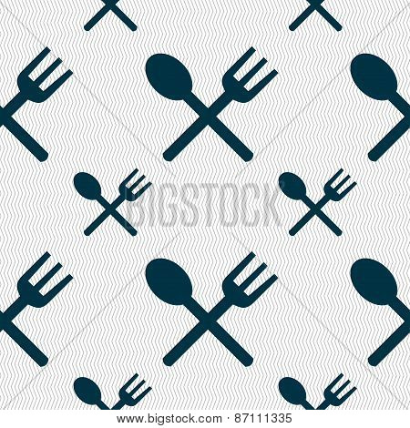 Fork And Spoon Crosswise, Cutlery, Eat Icon Sign. Seamless Pattern With Geometric Texture. Vector