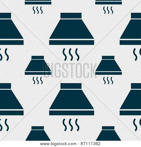 Kitchen Hood Icon Sign. Seamless Pattern With Geometric Texture. Vector