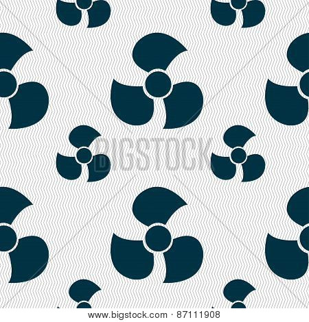 Fans, Propeller Icon Sign. Seamless Pattern With Geometric Texture. Vector