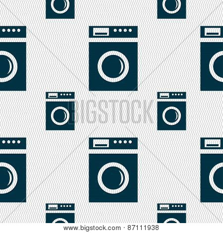 Washing Machine Icon Sign. Seamless Pattern With Geometric Texture. Vector