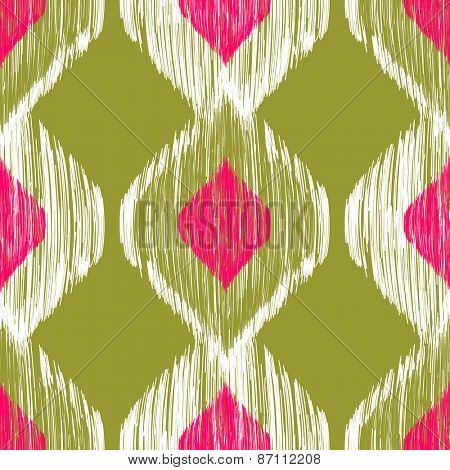Seamless ikat pattern in pink and khaki colors. Vector tribal background