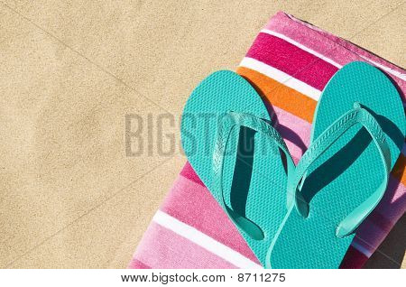 Flip-flops On Towel.