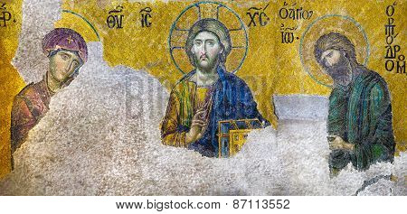 Istanbul - Jun 06, 2011:jesus Christ, A Byzantine Mosaic In The Interior Of Hagia Sophia