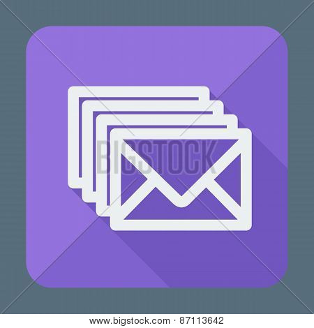 Four envelopes square flat icon with long shadow. Vector illustration
