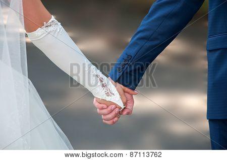 Hands Of Bride And Groom Outdoor