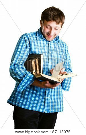 man reads a book