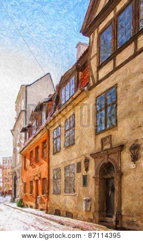 Riga Old Narrow Street Digital Painting
