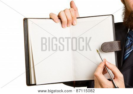 Businessman Holding A Pen Requesting