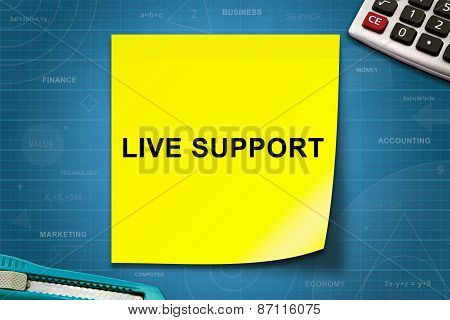Live Support Word On Yellow Note