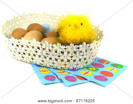 Boiled Easter eggswith a yellow chick