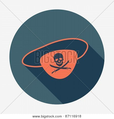 Pirate icon, eye-patch with jolly roger. Flat design vector illustration.