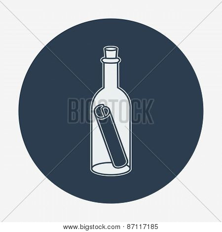 Pirate icon, bottle mail. Flat design vector illustration.