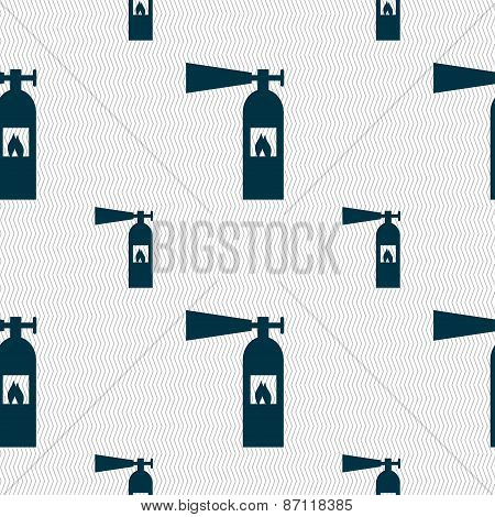 Fire Extinguisher Icon Sign. Seamless Pattern With Geometric Texture. Vector